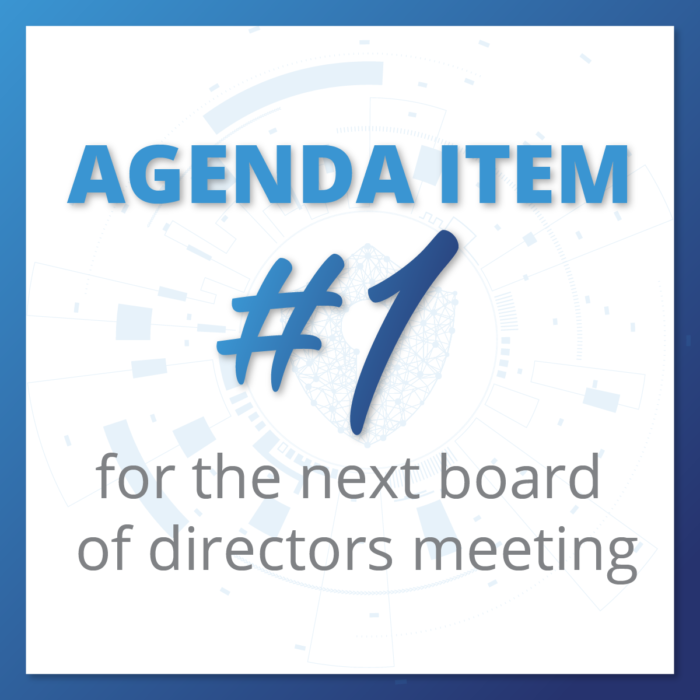 Agenda Item #1 for the Next Board of Directors Meeting